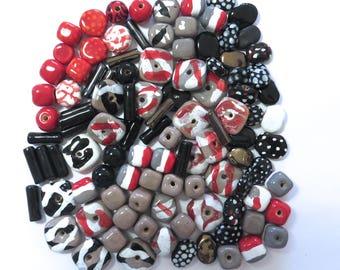 Kazuri Beads, 100 Kazuri Beads, Black Red and White Ceramic Beads, Kazuri African Beads No 353