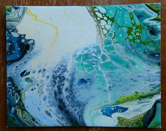 SALE / Abstract Acrylic Fluid Painting on 8x10 Canvas Panel