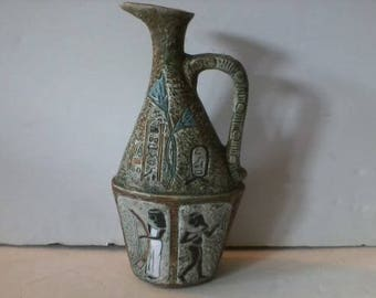 Vintage Mid Century Italian Egyptian Brescia Ceramic Vase