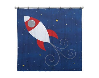 Shower Curtain for Kids Bathroom from Hand Painted Images - Rocket Ship Outer Space Theme - Children's Bath Decor