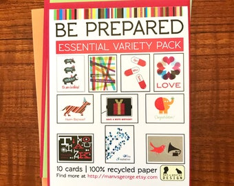 Be Prepared Essential Variety Pack of 10 Greeting Cards on 100% Recycled Paper