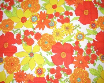 "Flowers Bright Orange and Yellow on cotton Fabric - 42"" wide - sold by the yard"
