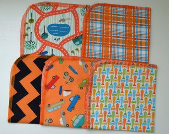 1 Ply Printed Flannel 12x12 inches Orange You Fun Set-5 Pack