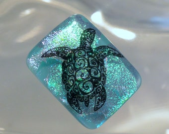 Fused Dichroic Glass Cabochon..SEA TURTLE...Glass Cab for Jewelry Designers
