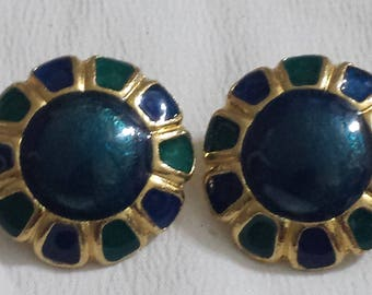 Vintage Gold tone Teal and Blue Floral clip on earrings