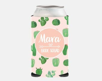 Bride Squad Bachelorette Party Favors Bridesmaid Gift Ideas Pink Maid of Honor Gift Ideas Personalized Wedding Can Cooler Cactus Can Hugger