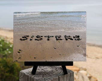 Beach Theme Photo gift for SISTERS, Beach Stone Word Photo on Small Black Wood Easel, unique gift for sister, BFF, coastal décor, word art
