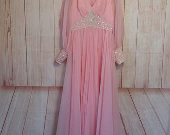 Vintage Pretty in Pink Long Formal Sequin Long Sleeve Gown Dress McDaniels Springfield Mo