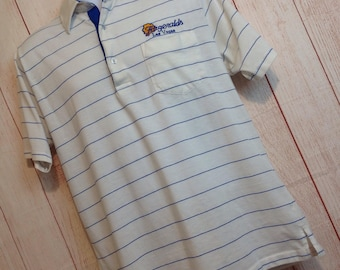 Vintage 80s Striped Fitzgeralds Las Vegas Polo Shirt Mens Casual Large