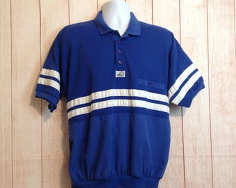 Vintage 80s Blue White HukAPoo Short Sleeve ELastic Waist Casual Shirt Mens XL