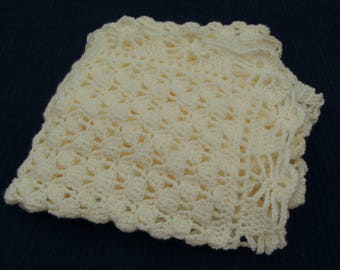 Antique White Crochet Baby Blanket