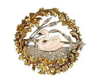 ON SALE French antique brooch Swan on diamond lake yellow gold enamel France 19th century