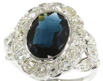 ON SALE French Art Deco engagement ring diamonds sapphire ring 18k white gold 1.70ct old brilliant cut diamonds 3.80ct dark blue sapphire Fr