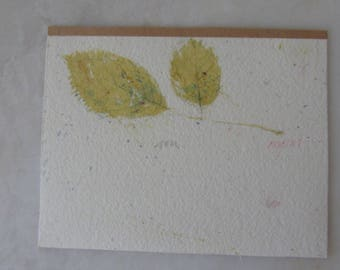 Vintage Original Signed Watercolor of Double Yellow Leaves by Ron Wagner