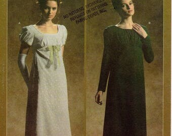 Pick Your Size - Simplicity Costume Pattern 4055 - Misses' Titanic Style Empire Dress and Sash in Two Variations - Historical Pattern