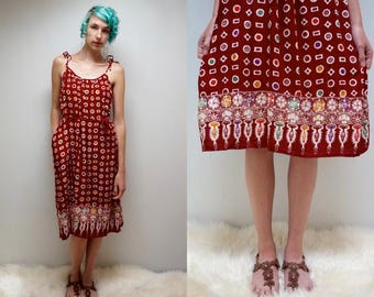 Batik SunDress  //  80s Rayon SunDress  //  Maroon Rayon Dress  //  BUMI AGUNG