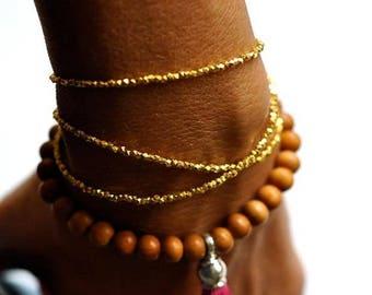 SALE Gold Triple wrap beaded bracelet
