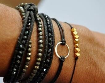 SALE sterling silver circle bracelet. Leather Karma bracelet.