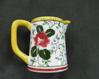 Vintage PY Rooster & Roses Ucago Early Provincial Creamer, Small Pitcher