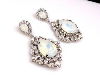 wedding jewelry bridal bridesmaid gift prom party christmas teardrop swarovski crystal white opal crystal fancy rhinestone couture earrings