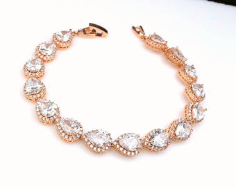 wedding jewelry bridal bracelet bridesmaid gift party christmas pageant micropave halo rose gold Clear white teardrop pear cubic zirconia