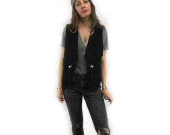 Vintage 70s unisex fringe concho suede leather vest // size medium
