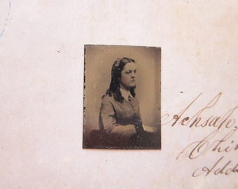 antique GEM tintype photo - miniature tintype photo - woman - gft20