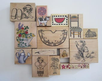 rubber stamp - YOUR CHOICE - country theme stamp - watering can, watermelon, fishing pole, chair stamp and more - used rubber stamps