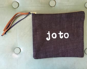 Handprinted Denim Clutch Bag with Lining – Joto - Edition of 3