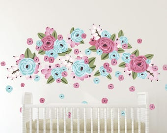HALF PACK* Vinyl Wall Sticker Decals - Graphic Flower Clusters- Bubble Gum Color