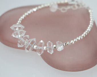 Herkimer Diamond Crystal Beaded Bracelet, Herkimer Diamond Quartz Sterling Silver Bracelet, Herkimer Diamond Bracelet, Raw Herkimer Crystal