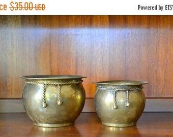 CIJ SALE 25% OFF vintage brass metal planters