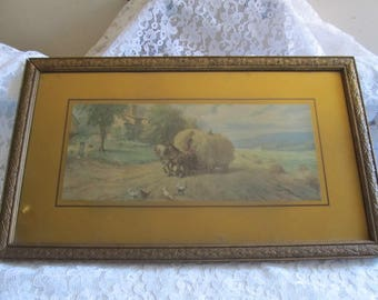 Antique Gilt Wood Framed Country Scene Print Wall Hanging Picture