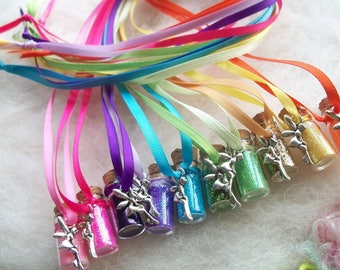 Fairy Party Favors, Tiny Rainbow Tink Fairy Glitter Party Favors 10 Pixie Sparkle Necklaces Flower Fairy Happy Birthday Charm Necklace