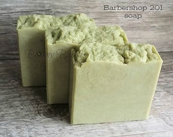 BARBERSHOP 201 goat milk soap for Men - with silk and shea butter - savon pour homme - made by Bonny Bubbles