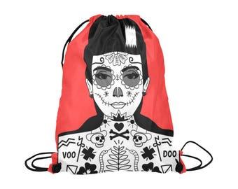 Voo Doo Doll Drawstring Bag | Bold Graphic Alternative Art Print | Lightweight | Swim Sport School Shopping | Bright Red White Black Cord