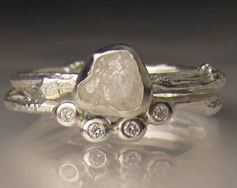 White Raw Diamond Engagement Ring, Rough Diamond Wedding Set, Uncut Diamond Twig Ring