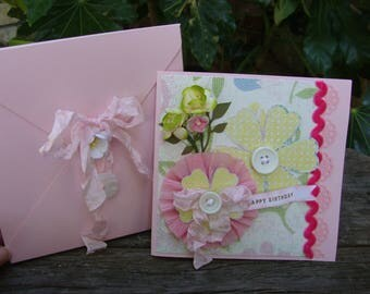 card for friend birthday shabby chic pink and white embellished fancy card with box envelope