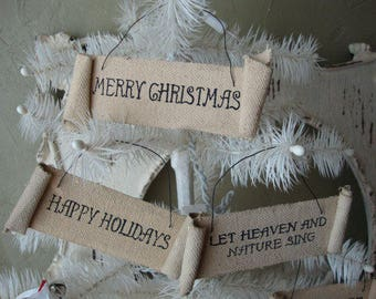 rustic christmas ornaments tea stained fabric banner home decor mini sign ornaments merry christmas happy holidays Heaven and nature sing