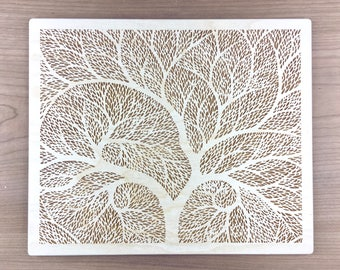 Wood Art 6 - Tree of Life Laser Engraved Wood Wall Art Decor Etched Atlas Tree Flower Drawing Yoga Studio Decor Wood Wedding Anniversary