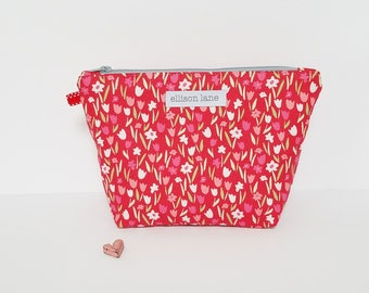 Red Tulips Zippy, Cosmetic Bag, Zipper Pouch, Gifts for Girls, Pretty Pouch, Gift for knitters