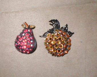 lot of TWO Vintage Rhinestone Fruit Brooches
