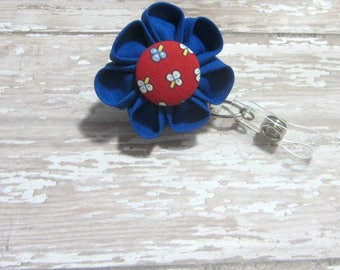 Royal Blue Flower Retractable Badge Reel, Lanyard, ID Holder, Badge Holder, Kanzashi Badge Reel, Badge Lanyard, Auburn