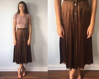 Vintage Skirt, 1980s, Escada by SRB, Escada,  Brown Silk and Wool Skirt, Pleated Skirt, Vintage Escada, Brown Skirt, Button Front Skirt