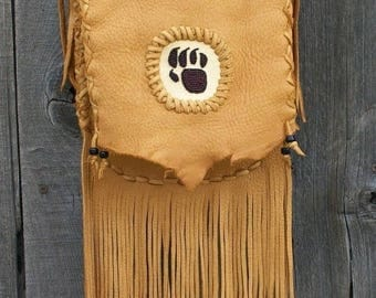 ON SALE Fringed leather handbag ,  Fringed crossbody bag ,   Fringed handbag with bear totem