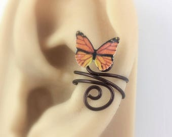 Nonpierced Ear Cuff - Cartilage Cuff - No Piercing Ear Cuff Clip On - Cute Teen Girl Gifts For Women 2017 - Monarch Butterfly Jewelry -