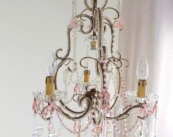 Petite Venetian vintage crystal chandelier, 40s Italian vintage, flowers and crystals, Murano drops