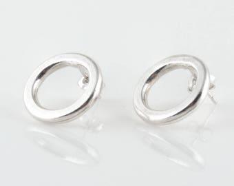 Sterling Silver Circle Earrings • Geometric Earrings • Full Moon Earrings • Minimalist Design • Circle Wire Stud Earrings