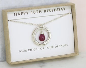 40th birthday gift, ruby necklace, July birthstone necklace, June birthday gift for 40th - Lilia