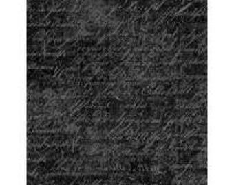 Under a Spell from Wilmington Prints - Full or Half Yard Black Cursive Texture - Halloween Black Blender